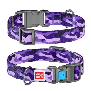 "WauDog  NYLON - obroża  ""Purple camo"" + Smart ID"