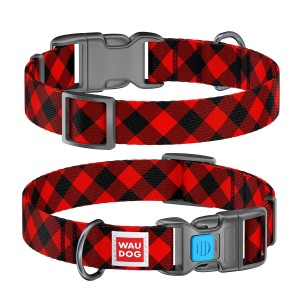 "WauDog  NYLON - obroża  ""Red tartan"" + Smart ID"