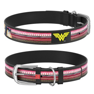 "WauDog DESIGN obroża czarna - ""Wonder Woman"""